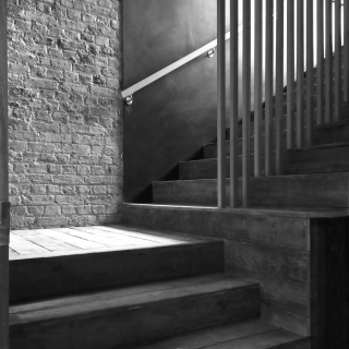 Putney Pies basement staircase detail_bw3
